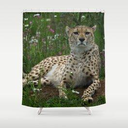 Cheetah Amidst Spring Flowers Shower Curtain