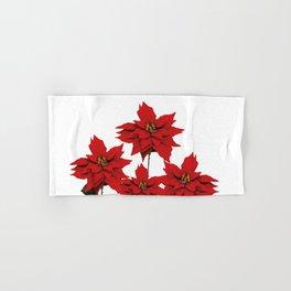 Red Poinsettia flower Hand & Bath Towel