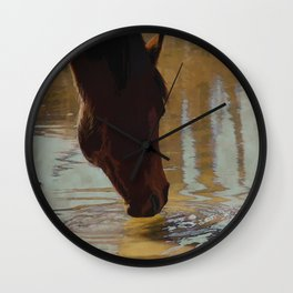 The Watering Hole  - Drinking Percheron Horse Wall Clock