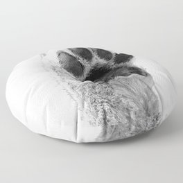 Black and White Dog Paw Floor Pillow