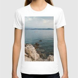 Little boat at the Croatian Coast at sunset   Travel photography print   Blue hour in Europe T-shirt