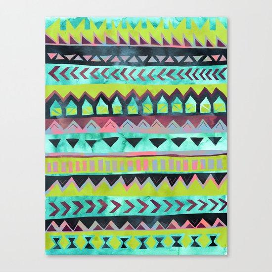 PATTERN {Tribal Stripe - Green} Canvas Print