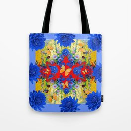 VERY BLUE  FLOWERS YELLOW BUTTERFLIES PATTERN ART Tote Bag