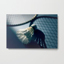 Shadows of badminton Metal Print