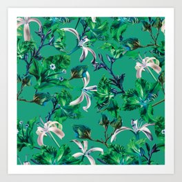 Tropical Bramble Green Art Print