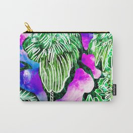 Space Tropic | Modern green tropical palm tree forest photography illustration nebula color block Carry-All Pouch