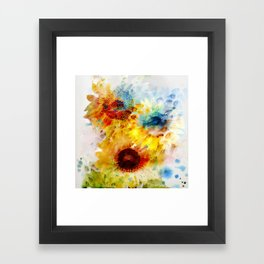 Watercolor Sunflowers Framed Art Print