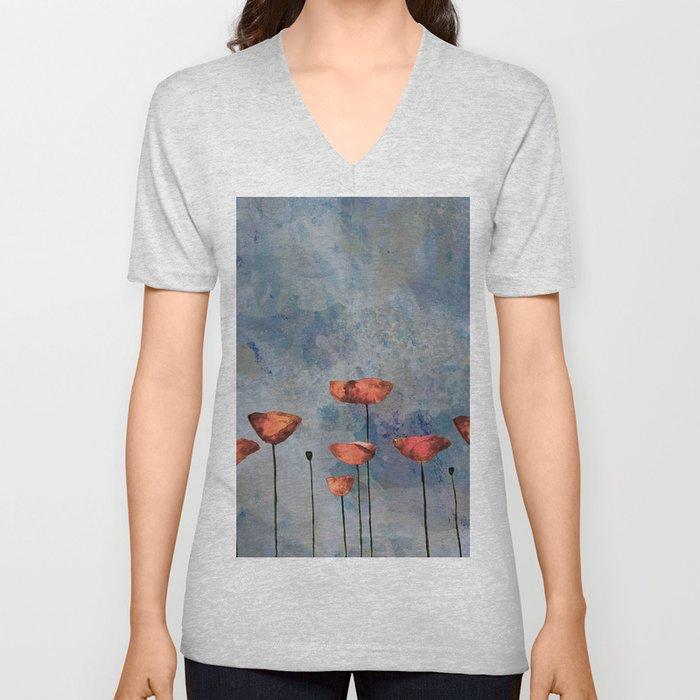 Poppyfield against the blue sky - abstract watercolor artwork Unisex V-Neck