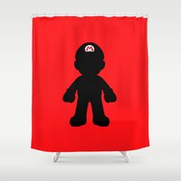 mario Shower Curtains featuring Mario by Jessica Wray