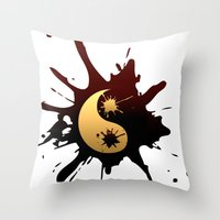 ying yang Throw Pillows featuring Ying-Yang by Jessica Jimerson