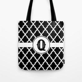 Black Monogram: Letter Q Tote Bag