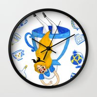 alice wonderland Wall Clocks featuring Wonderland by Bethany Grace