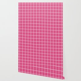 Fandango pink - pink color - White Lines Grid Pattern Wallpaper