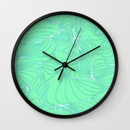 Curves in Mint & Turquoise Wall Clock