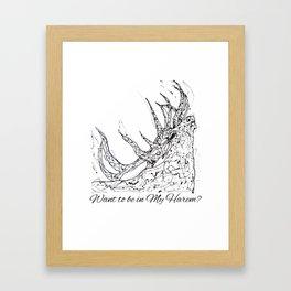 OLena Art Elk Design 'Want to be in My Harem?' Framed Art Print