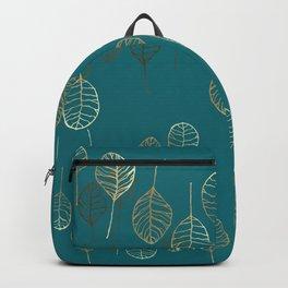 Golden Leaves - Teal Backpack