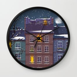 Snowy Street Wall Clock