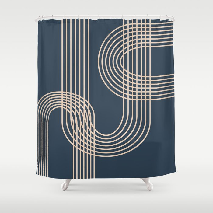Lines in Midnight Shower Curtain