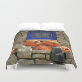 Blue Windows & Pumpkins Duvet Cover