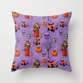Vintage Halloween Pattern Throw Pillow