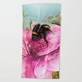 Bee on flower 17 Beach Towel