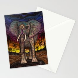 Elephant Sunset by Julie Oakes Stationery Cards