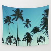 palm trees Wall Tapestries featuring Palm Trees by Whitney Retter
