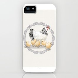 Mother Hen and Her Chicks in Crochet Wreath iPhone Case