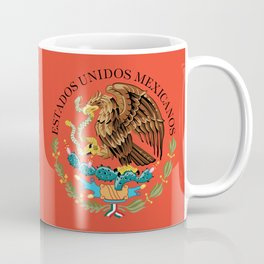 Flag of Mexico Seal on Adobe red background Coffee Mug