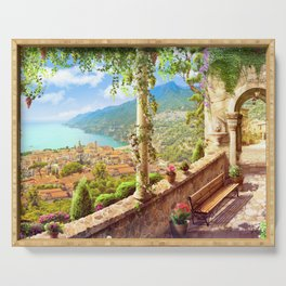 Magnificent Mediterranean Balcony Overseeing Seaside Ultra HD Serving Tray