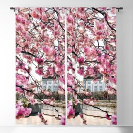 Painting of a Colourful Spring Season under the Fully Bloomed Cherry Blossoms Blackout Curtain