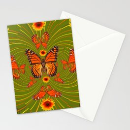 GREEN PEA SOUP SUNFLOWERS MONARCH BUTTERFLIES Stationery Cards