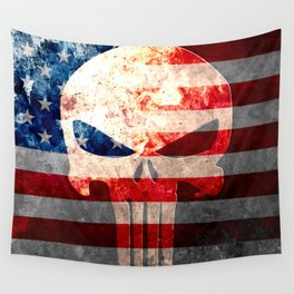 Punisher Themed Skull and American Flag on Distressed Metal Wall Tapestry