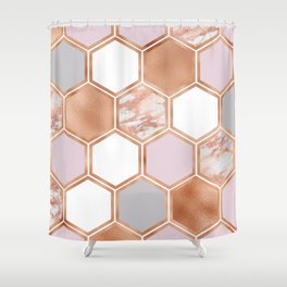 Mixed rose gold pinks and marble geometric Shower Curtain
