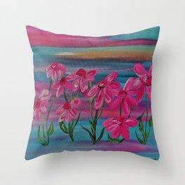 Pink Gerbera Daisies on Burlap Throw Pillow