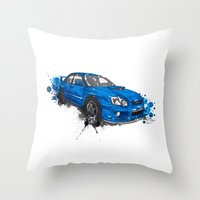 subaru Throw Pillows featuring Subaru Impreza by Claeys Jelle Automotive Artwork