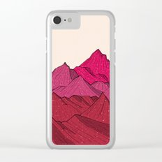 The falling snow and the mountains Clear iPhone Case