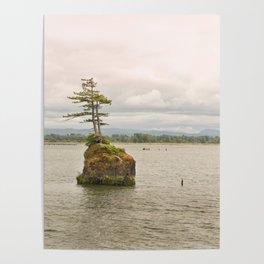 Altoona Rock Seastack Island Columbia River Oregon Washington Northwest Landscape Forest Trees Poster