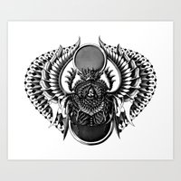 egyptian Art Prints featuring Egyptian Scarab by BIOWORKZ