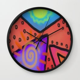Funky Abstract Digital Painting Wall Clock