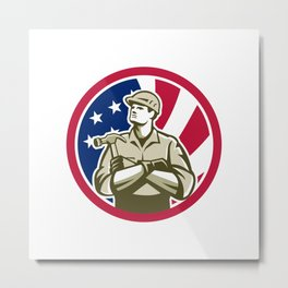 American Carpenter USA Flag Icon Metal Print