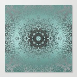 Turquoise ornament, kaleidoscope Canvas Print