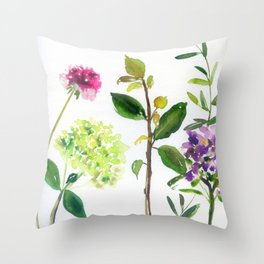 hydrangeas and other stems Throw Pillow