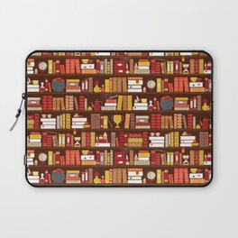 Book Case Pattern - Red and Gold Laptop Sleeve