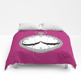 Mustache clock print Comforters