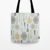 kitchen Tote Bags featuring kitchen by La Señora