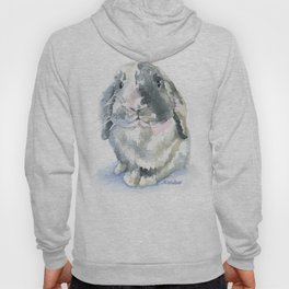 Gray and White Lop Rabbit Hoody