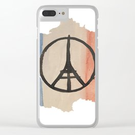 Outline of France with Tri-color Peace Clear iPhone Case