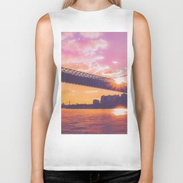 New York City Williamsburg Bridge Sunset Biker Tank