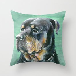 The Colorful Rottweiler Painting Throw Pillow